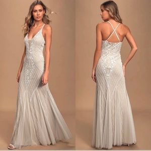 This I Promise You White Nude Beaded Sequin Gown